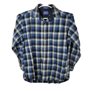 Pendleton Mens L Blue Plaid Vigin Wool Flannel